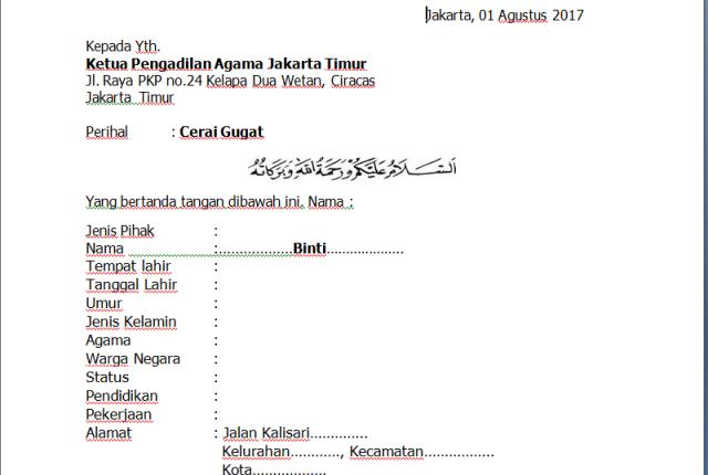 21+ Contoh formulir surat cerai terbaru yang baik