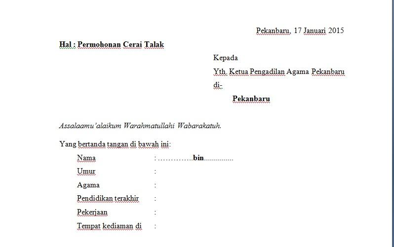 Contoh Permohonan Talak Suami Yuoky Surinda Blog